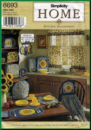 Sunflower Kitchen Decor | Sunflower Home Dec Kitchen Accessories Simplicity  Sewing Pattern 8693 .