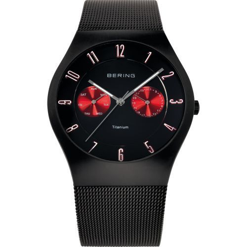 BERING 11939-229 Men's Watch Brushed Black Titanium Case Red Subdial Black Dial