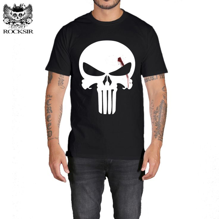Rocksir super man Cotton punisher black t-shirt men Casual the punisher t shirt Men the punisher t shirts for men  #Affiliate