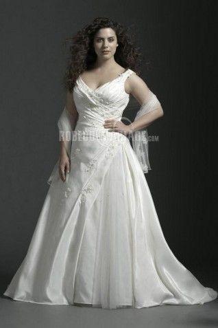 Robe de mariée grande taille col en v taffetas broderie [#ROBE209069] - robedumariage.info