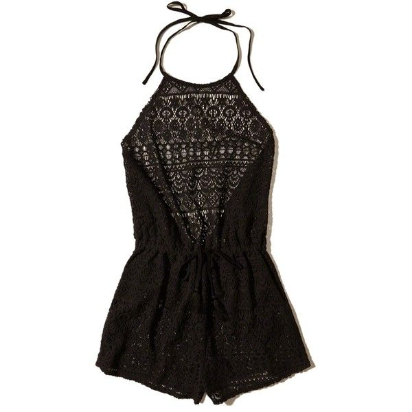 Hollister Lace Romper Swim Cover-Up (540 ARS) ❤ liked on Polyvore featuring swimwear, cover-ups, dresses, jumpsuit, rompers, swim suit, tops, black lace, lace swimsuits and lace cover up