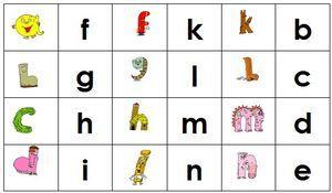 dominos : associer alpha et lettre scripte
