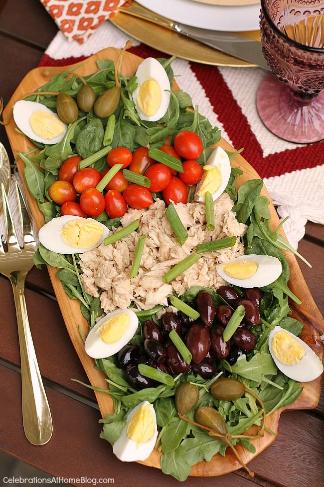 A light rustic dinner party menu for casual entertaining at home. - nicoise salad
