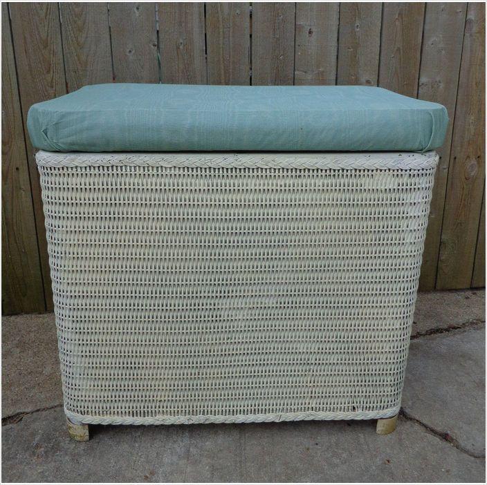 Vintage Wicker Bench Seat Laundry Hamper Bathroom Decor