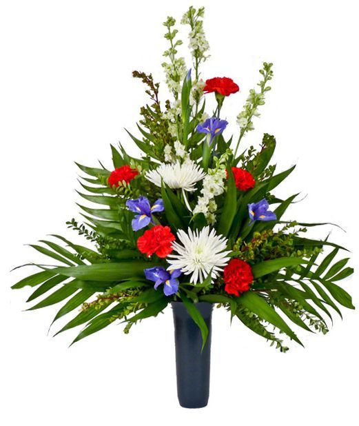 Patriotic Rememberance: Red white & blue cemetery bouquet - About Flower Products Conklyn's Florist. Washington, DC. Opened in 1938 in Arlington,VA and King Street, Alexandria. For all your Flower Delivery.