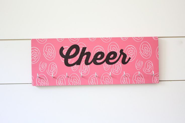 Cheer Medal & Bow Holder with Pattern- Cheerleading - Cheerleader - Medium