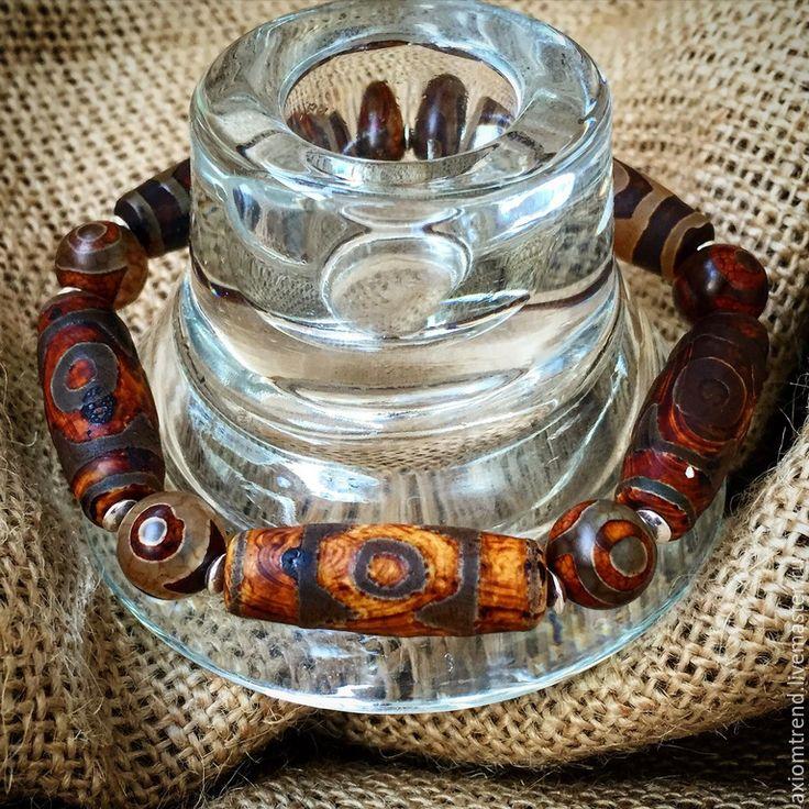 """Купить Мужской браслет Этно из линии """"Pharaoh"""" - коричневый, стильный подарок, стильный браслет"""