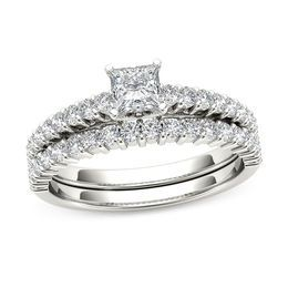 1 CT. T.W. Princess-Cut Diamond Bridal Set in 14K White Gold