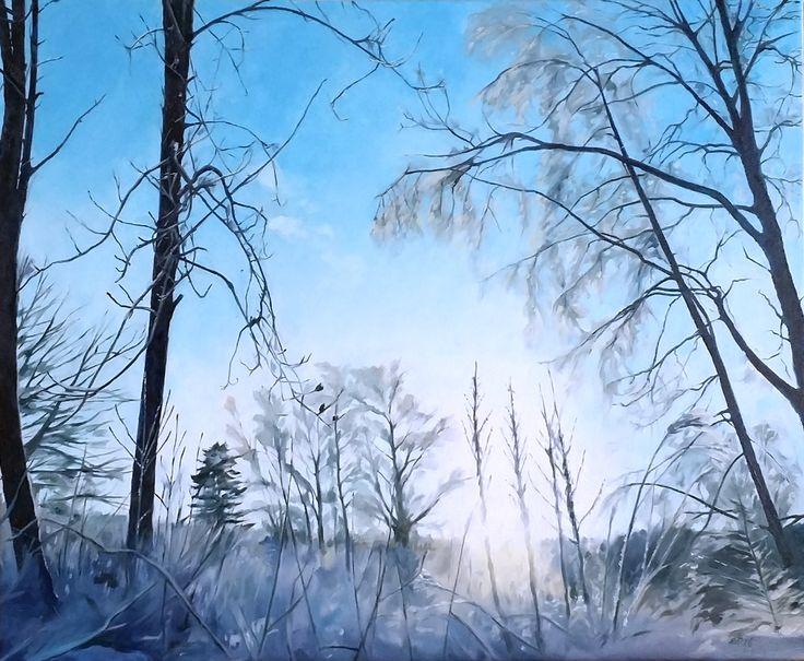 Vintersol och iskristaller.  #målning #oljemålning #oljemålningar #konst #erikspalett #painting #oilpainting #oilpaintings #art #artist #sweden #härnösand #häggdånger #oil #colors #oilcolor #colour #oilcolour