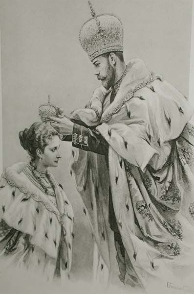 Tsar Nicholas II crowning his consort, Alexandra Feodorovna - 14 May 1896. Since the time of Peter the Great, Empresses of Russia (who gained that status due to their marriage to the Tsar or Tsarevich) could receive the crown only from the hands of their husbands. This meant that only a crowned husband could give the power to his wife.