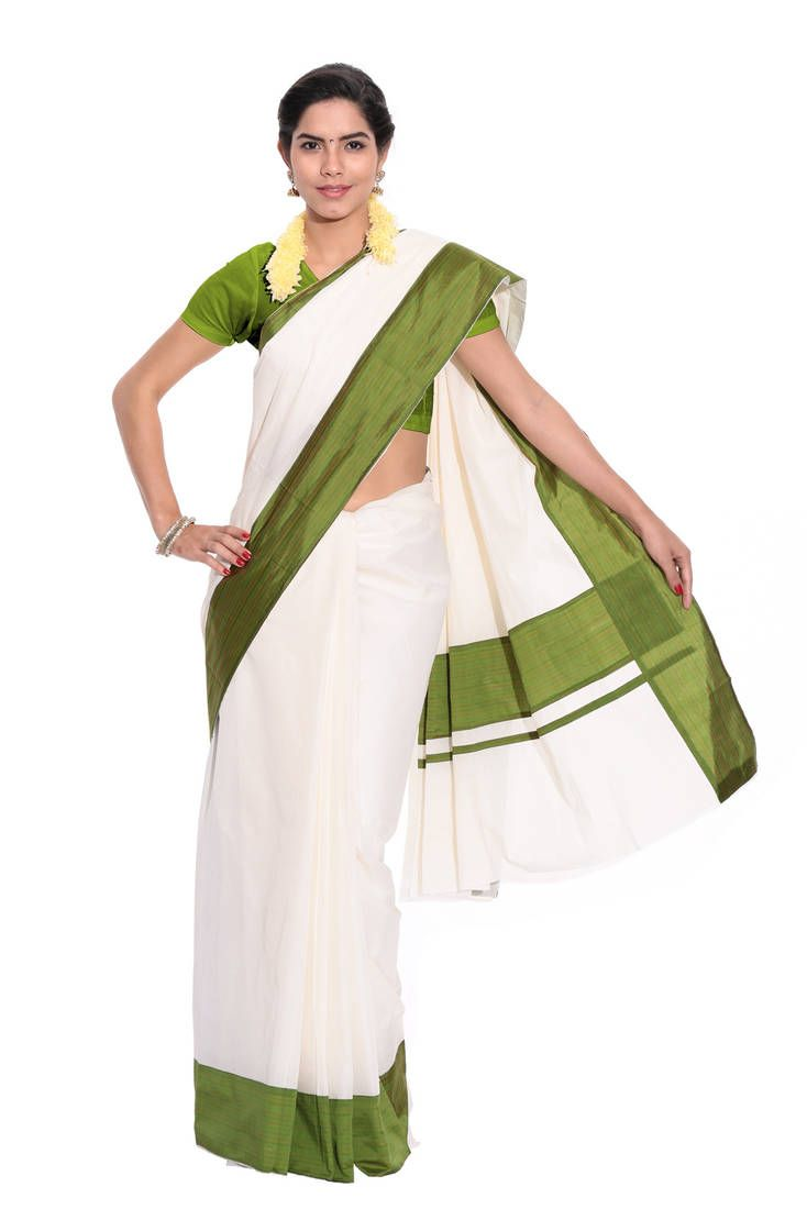 069558ddcf5 White Colour Woven Cotton Saree With Blouse