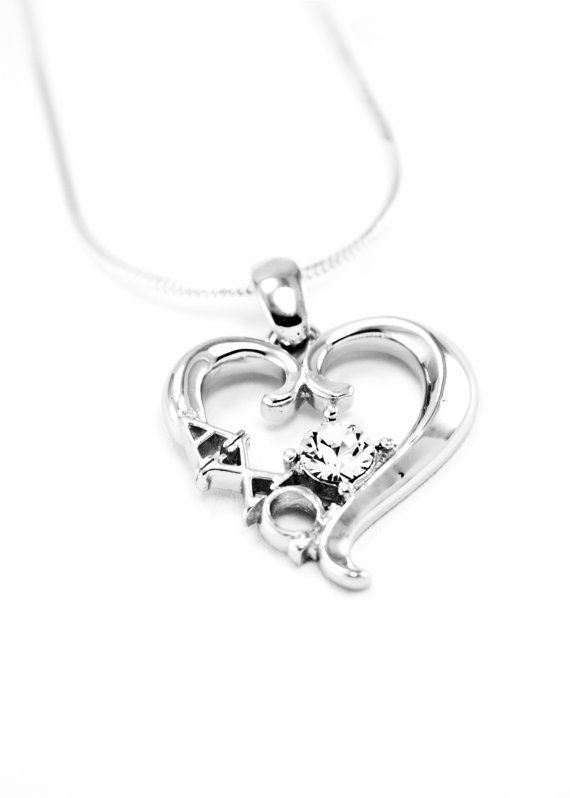 Alpha Chi Omega Sterling Silver Heart Pendant set with a Swarovski Clear Crystal