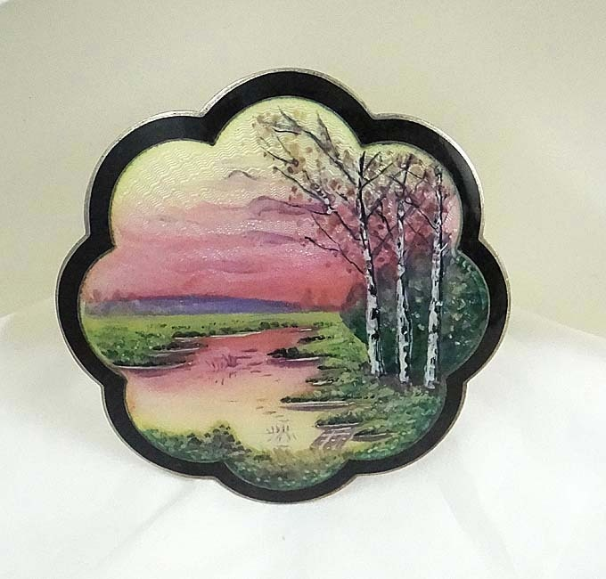 Large Sterling Silver Guilloche Enamel Norway Hans Myhre Scenic Pin