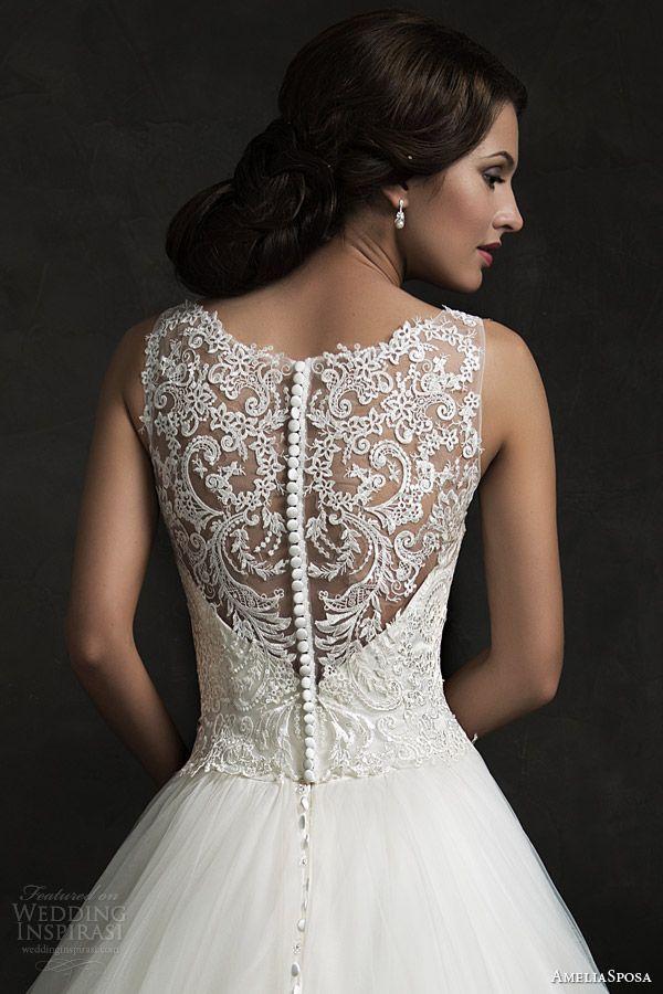 amelia sposa 2015 bridal elza sleeveless ball gown wedding dress illusion neckline back view close up