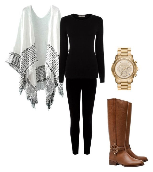 """""""Preppy Ponchos"""" by mackenzylynnvancil on Polyvore featuring Warehouse, Tory Burch, MICHAEL Michael Kors and Oasis"""