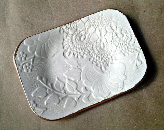 Ceramic Lace Jewelry Dish Soap dish jewelry holder Off by dgordon