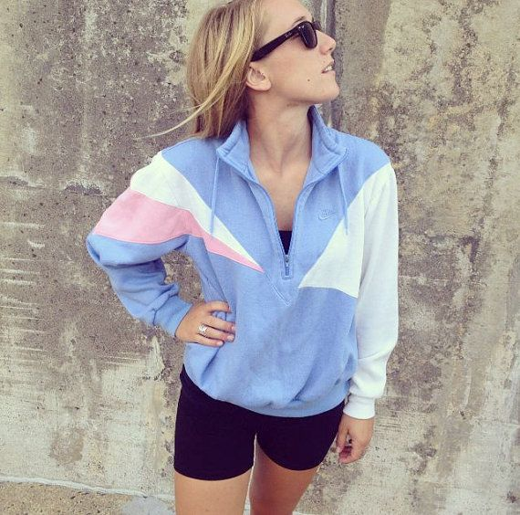 Vintage Nike Zip Up Sweatshirt Blue and Pink by ThirdRound on Etsy, $30.00