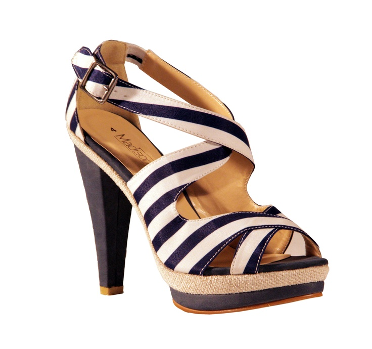 Get on board the stripe trend and dress for the occasion with Madison's nautical inspired Candy heels.