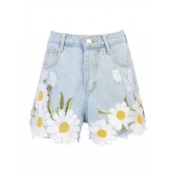 Choies Light Blue Daisy Embroidery Ribbed Detail Denim Shorts ($25) ❤ liked on Polyvore featuring shorts, blue, light blue shorts, daisy print shorts, embroidered shorts, blue shorts and light blue jean shorts
