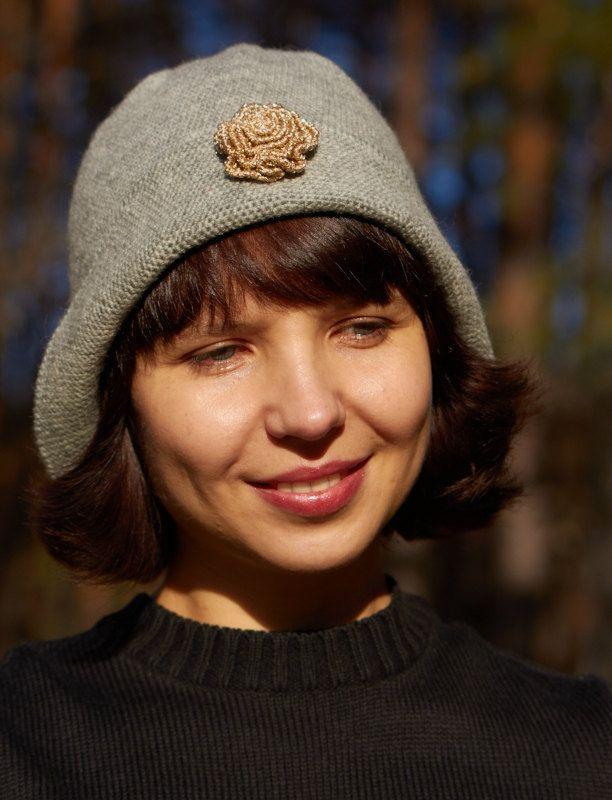 Crochet  Gray Hat, Brim Hat, Floppy Hat, Hat For Woman, Womens Hat, Warm Hat, Winter Hat, Flapper Hat, Cloche Hat, Gift For Her, Wool Hat by AzhurLES on Etsy