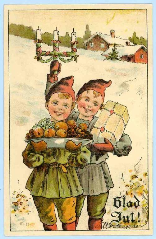 Max Hänel (MH) - Glad Jul - Tomtebarn med fruktfat på Tradera. Signerade