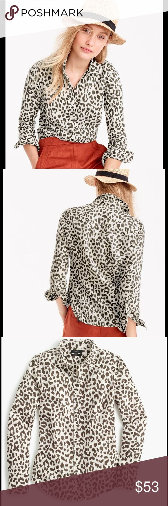 J Crew Cotton-linen shirt leopard print - Size 2 J Crew Cotton-linen perfect shirt in leopard print.  J Crew's perfect shirt features precisely placed darts for a slimming, waist-defining fit that's a bit more tailored. This is super soft cotton-linen blend, then added a watercolor-inspired leopard print for a wild take.  Cotton/linen blend. Long roll-up sleeves. Functional buttons at cuffs. Button placket. Machine wash  🤔 Please ask all questions ✅Use Offer Button 🚭& 🐶😺🐠Free Home…