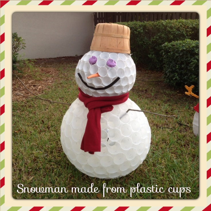 49 best reduce reuse and recycle images on pinterest for Snowman made out of cups