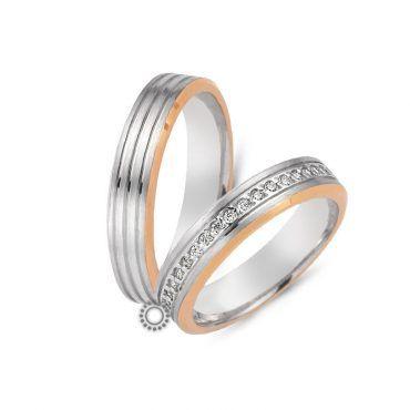 Γαμήλιες δίχρωμες ροζ-λευκές βέρες CHRILIA 32 σε ματ φινίρισμα ριγέ η ανδρική και σειρε η γυναικεία | Βέρες ΤΣΑΛΔΑΡΗΣ στο Χαλάνδρι #βερες #γάμου #wedding #rings #Chrilia #tsaldaris