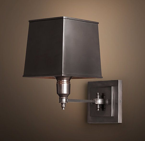Wall Sconce Lighting Images : Restoration Hardware Claridge Single Sconce With Metal Shade - Bronze - USD 209 Master Bedroom ...