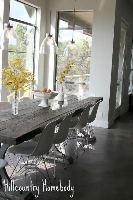 Rustic Modern Dining Room White Modern Chairs/Farmhouse Table Hill Country  Homebody