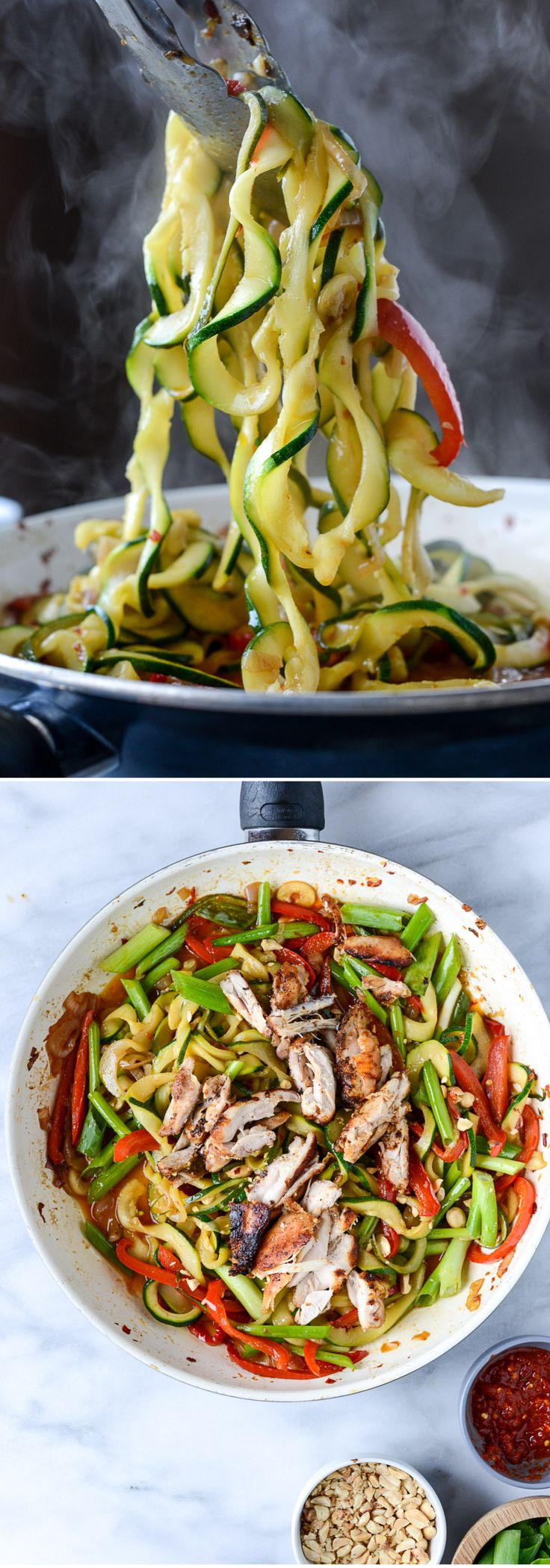Thai Drunken Zucchini Noodles with Spicy Honey Chicken I howsweeteats.com