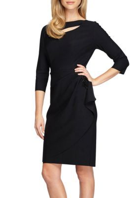 Alex Evenings Women's Three-Quarter Sleeve Jersey Dress - Black - 12