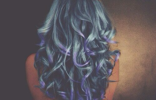 Faded blue with violet tips hair curly