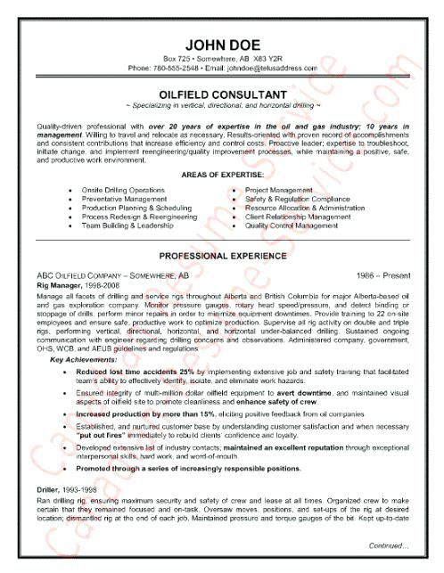 Oil Field 4-Resume Examples Pinterest Resume examples and Resume