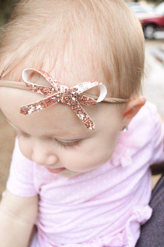 Rose Gold Glitter Bow Headband Nylon Elastic by StickyBliss
