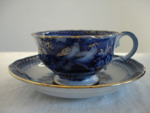 1860's Villeroy & Boch Flow Blue 'INDIA' Cup And Saucer
