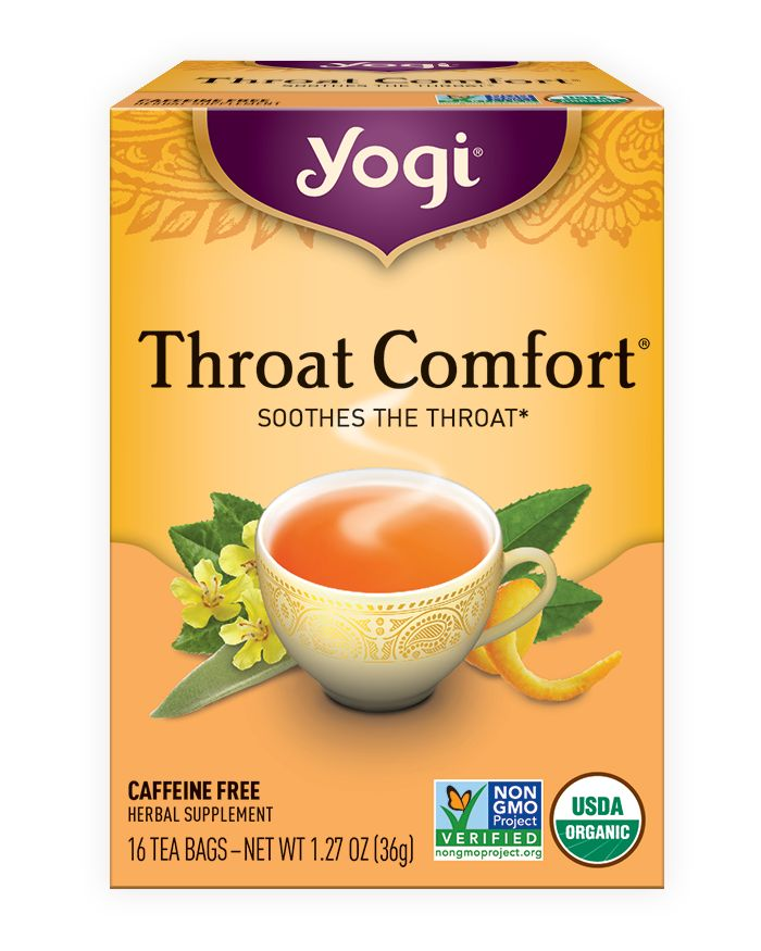 Soothe your sore throat with comforting Throat Comfort® tea; an herbal blend made with Slippery Elm Bark, Mullein Leaf, and subtly sweet Wild Cherry Bark.