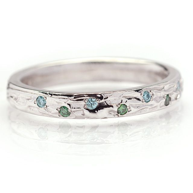 White Gold with Blue and Green Sapphires  14k white gold textured band with small light blue and forest green sapphires$1375