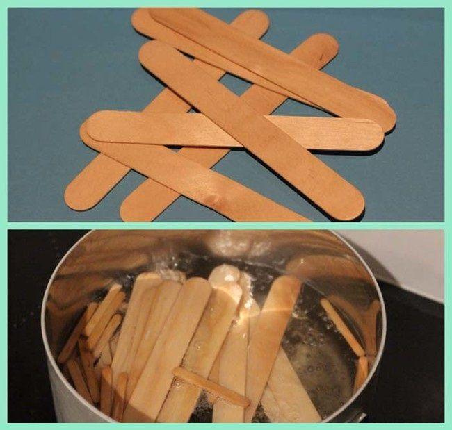 Heb je stokjes van ijsjes over? Gooi ze niet weg! Wanneer je ze in kokend water doet kan je er iets PRACHTIGS mee maken!