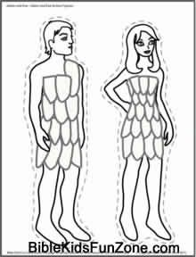Adam and Eve in the Garden of Eden Crafts, Coloring Pages and Play Activities for Childrens