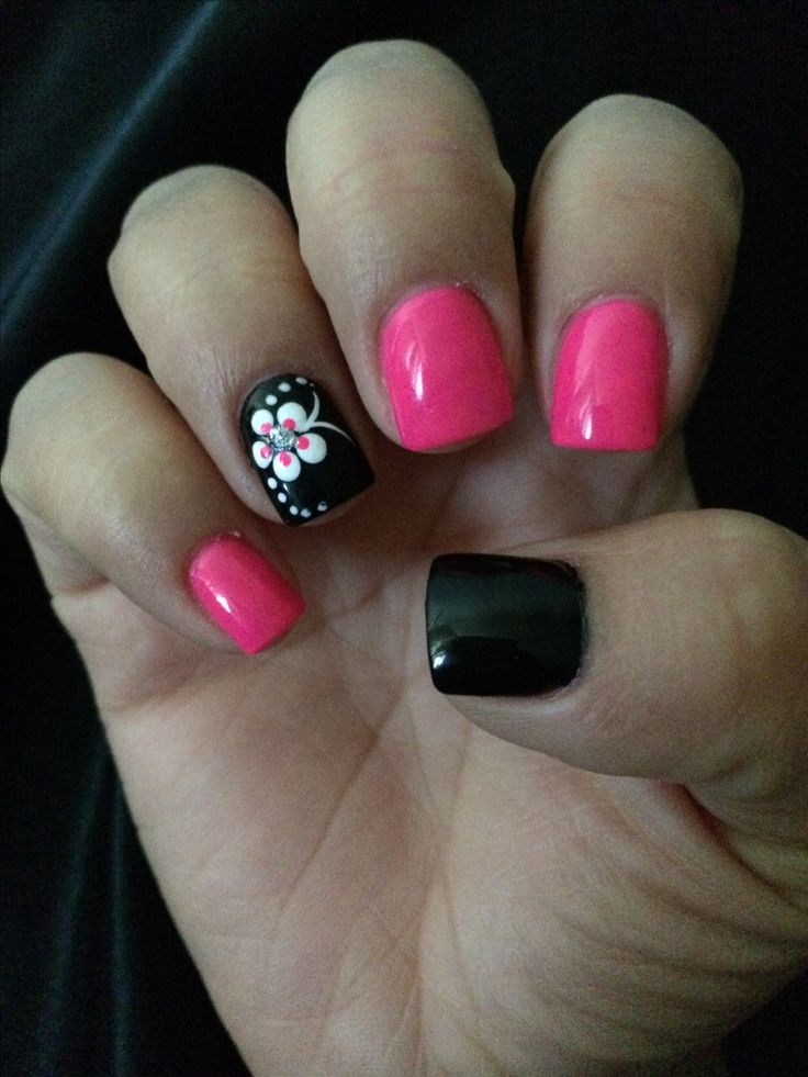 Pink and black nails :)                                                                                                                                                                                  More