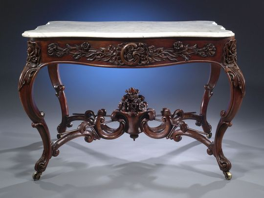Victorian Marble Top Table By John Henry Belter