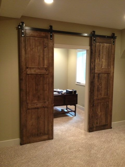 Bi parting barn door rustica style pinterest for Bedroom closet barn doors