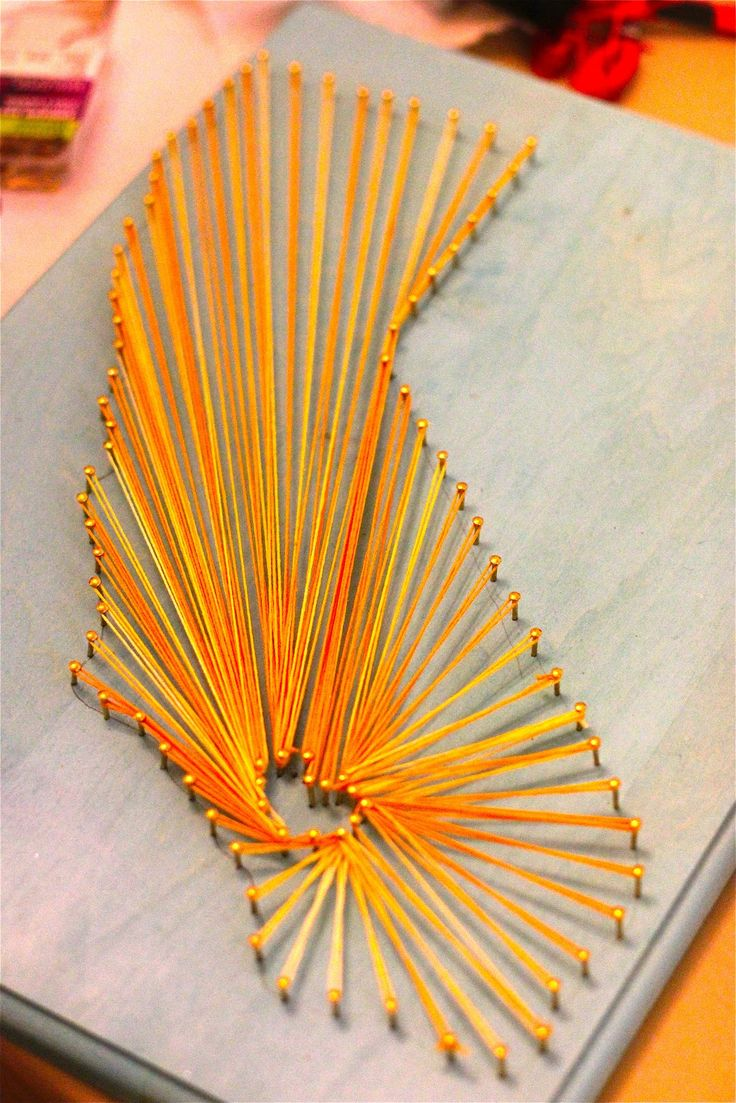 How To Make Radiant State String Art  http://homedecornut.com/how-to-make-radiant-state-string-art/