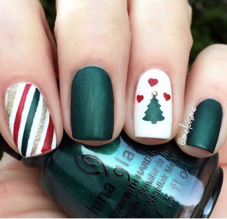 Hello December! Xmas green, red & white manicure by @melcisme using Christmas Tree & Gift Wrap Nail Art Stencils now 25% OFF at snailvinyls.com