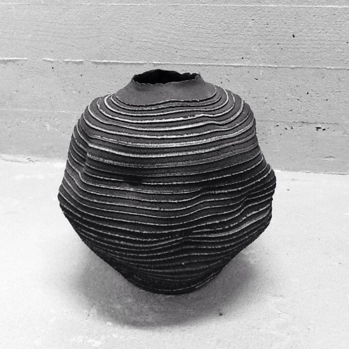 Jar black clay porcelain slip.