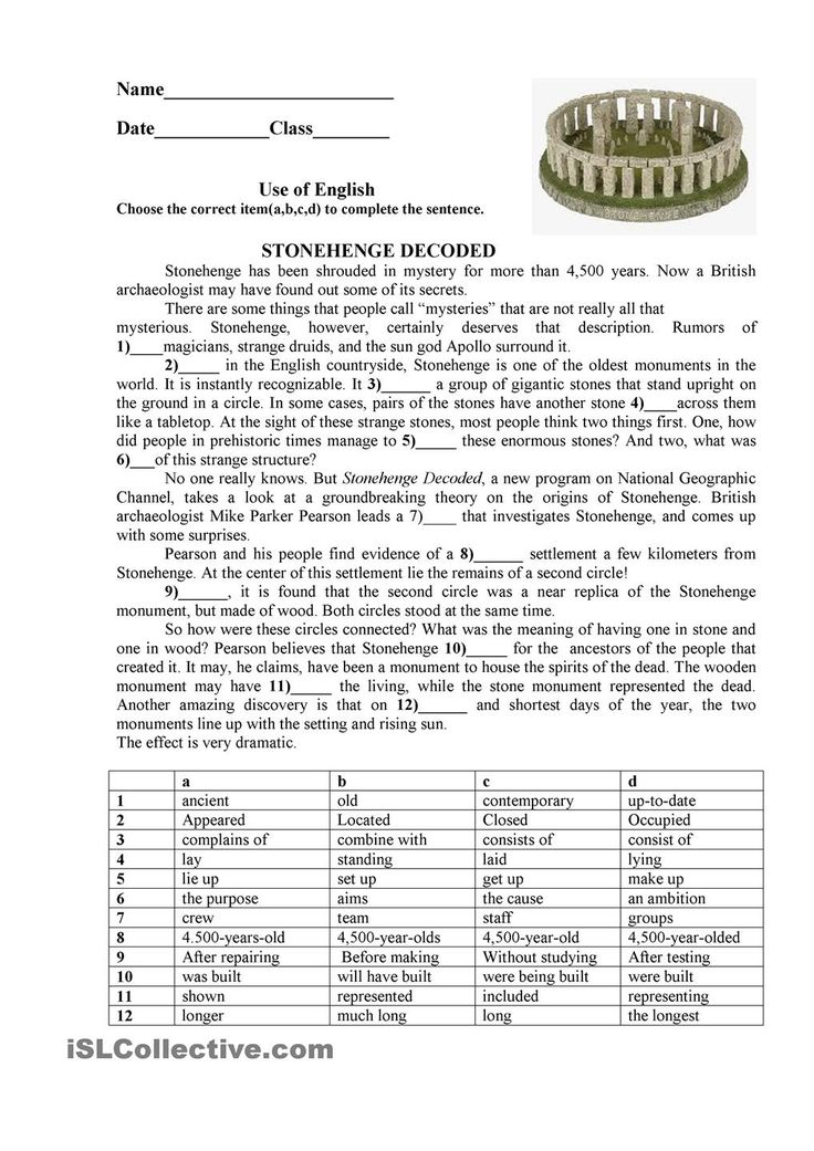 Stonehenge: ESL printable worksheet of the day on July 11, 2015  by zhilinanna