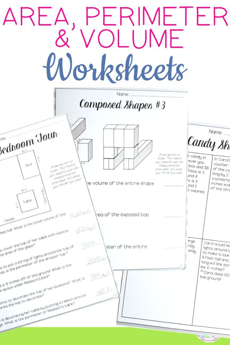 Your 4th 5th and 6th grade students will practice volume area and perimeter  through these fun worksh…   Volume worksheets [ 1104 x 736 Pixel ]