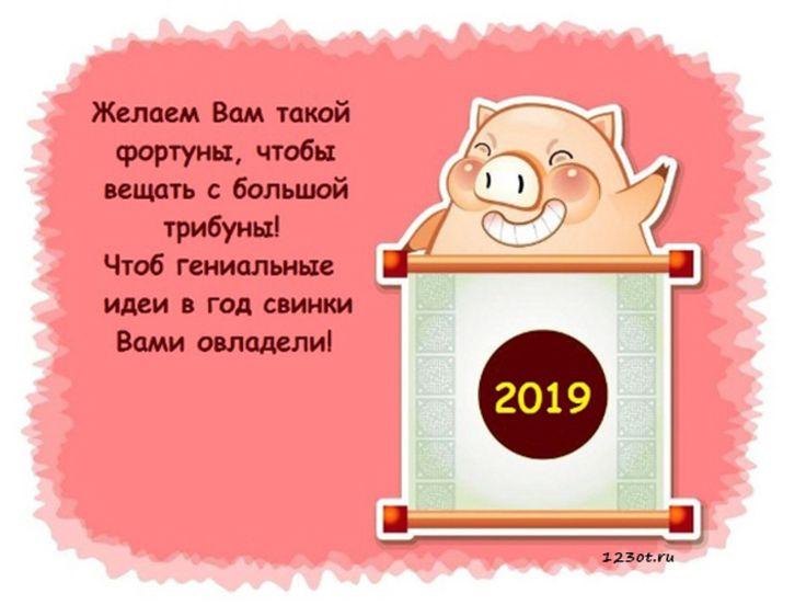 веселые новогодние поздравления с годом свиньи учитель