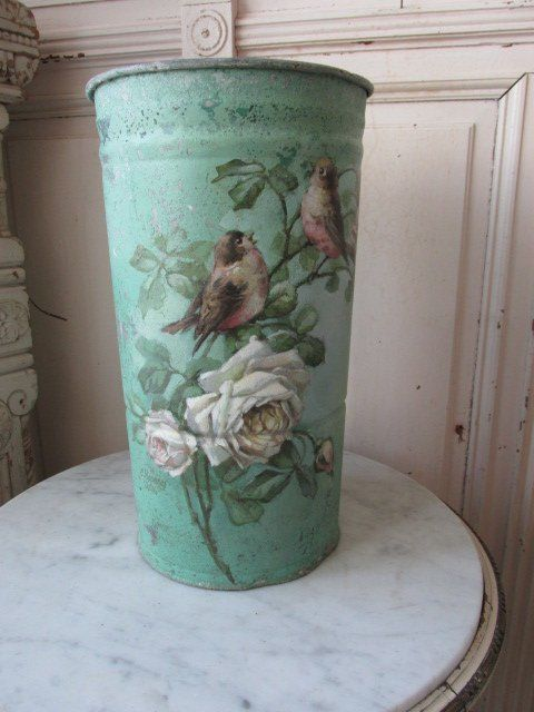 OMG ORIGINAL CHRISTIE REPASY PAINTING WHITE & BLUSH Roses on FRENCH FLOWER CAN
